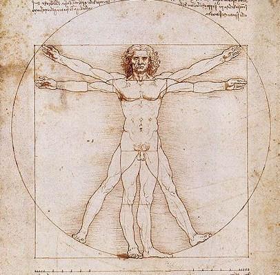 Знаменитый витрувианский человек работы Леонардо да Винчи