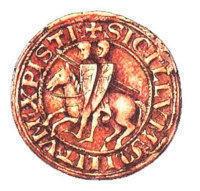 Печать тамплиеров. Изображение двух рыцарей на одном коне символизирует исполнение обета бедности