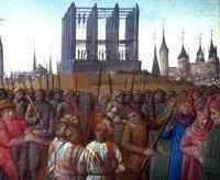 Сожжение тамплиеров по решению организованного Филиппом IV суда. Старинная книжная миниатюра