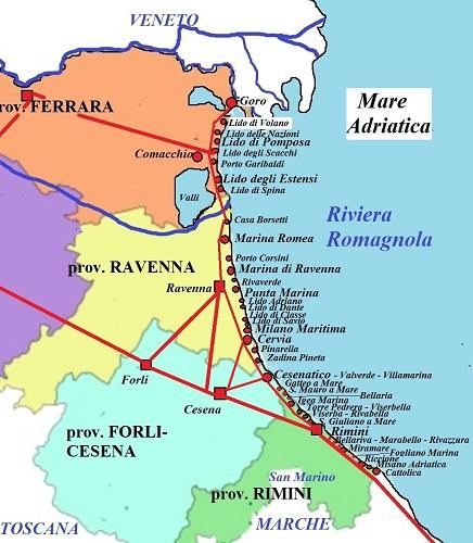 Карта Адриатической ривьеры.