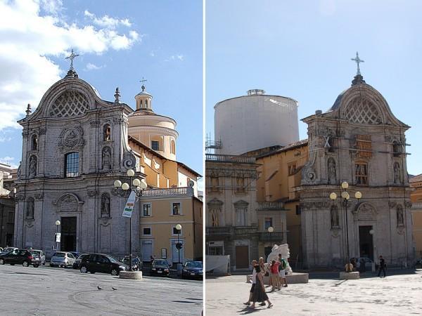 Церковь до и после землетрясения 2009 года