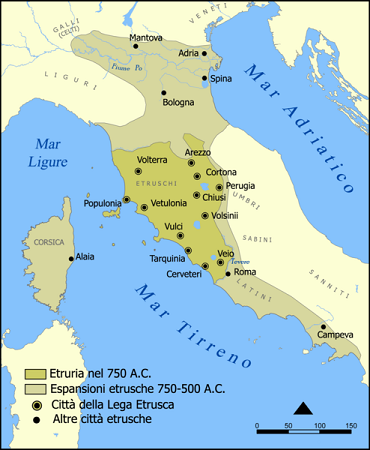 Карта народов древней Италии (750-500 гг до н.э.)
