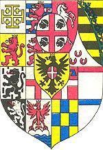 Гербовый щит Савойского дома в 1815—1870 годах. На так называемом почетном месте щита — герб Сардинии.