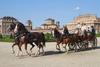 Старинные экипажы и кареты прибывают в Королевский дворец Реджия-ди-Венария