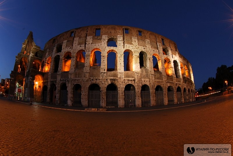 ночная съемка, рим
