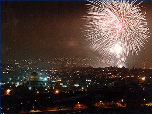 Салют в День независимости в Иерусалиме.