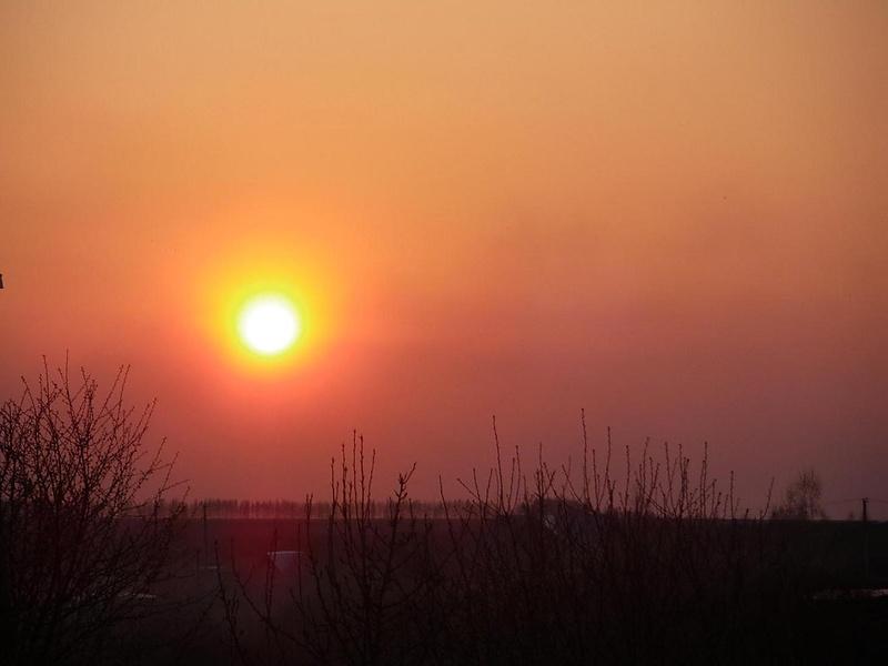 Первый  дачный закат в этом году