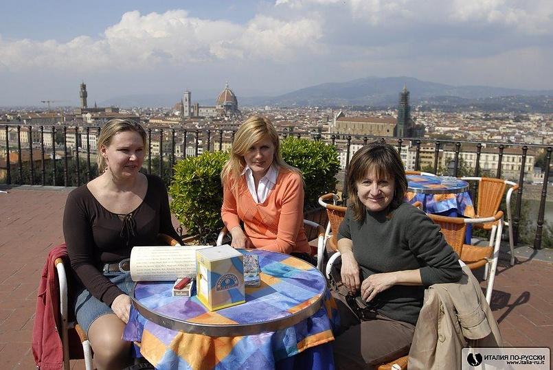 папа карло затащил девушек в кафе полюбоваться флоренцией