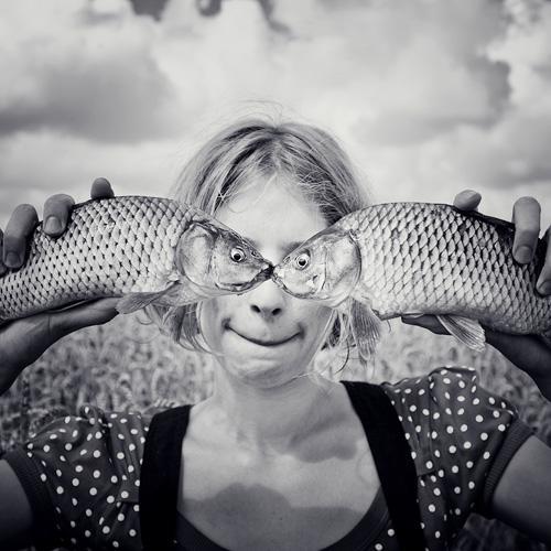 Портрет с рыбками)))