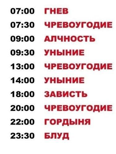 Расписание грехов