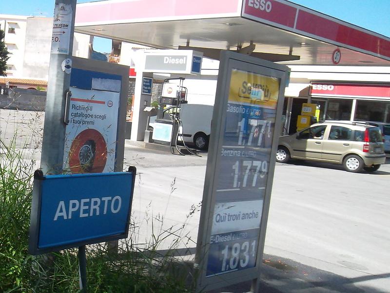 Цены на бензин на Сицилии сегодня.