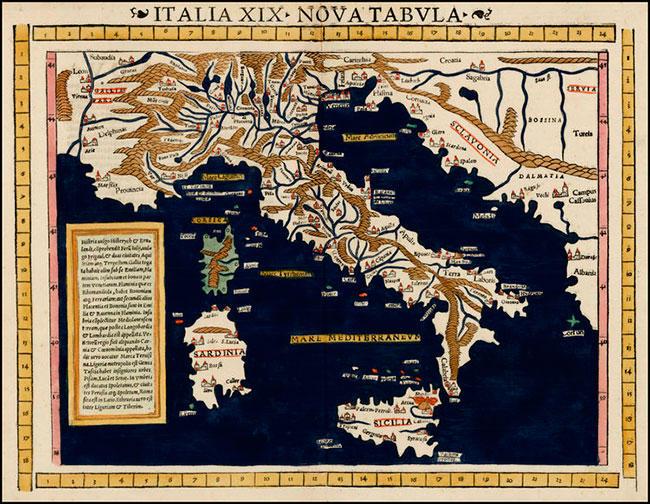 Карта Италии в XIX веке