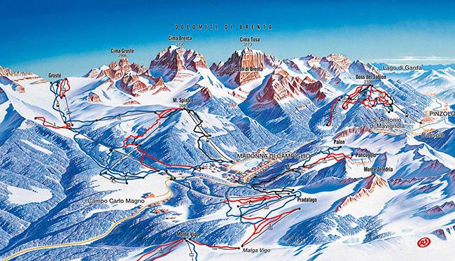 Карта курорта в Доломитовых Альпах XIX века