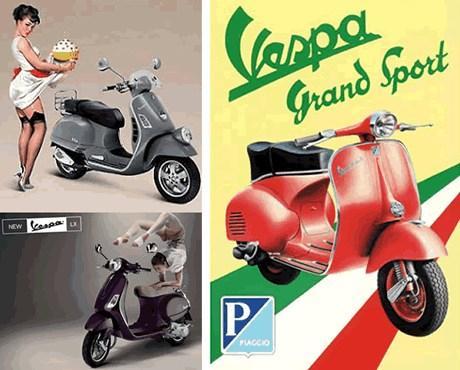 Реклама Vespa в разные годы