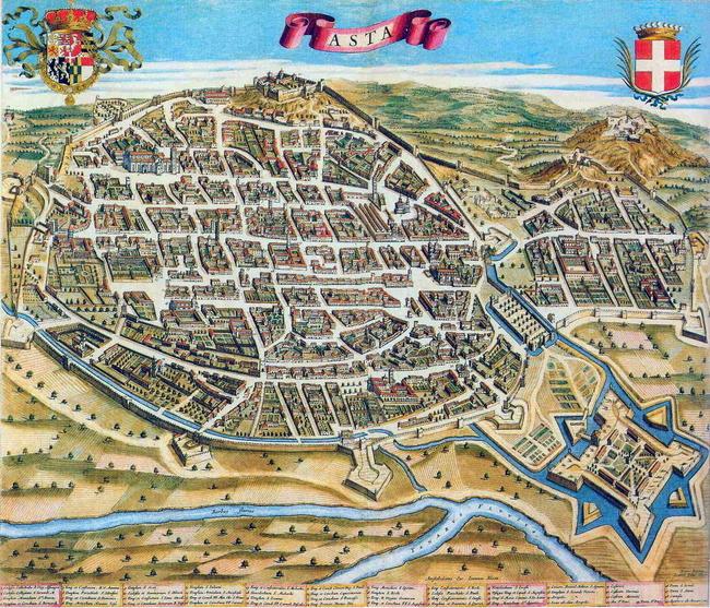 Старинная карта Асти