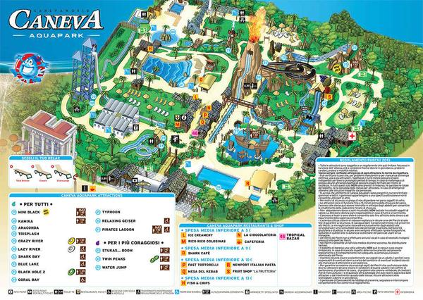Карта парка Caneva, щелкните, чтобы увеличить