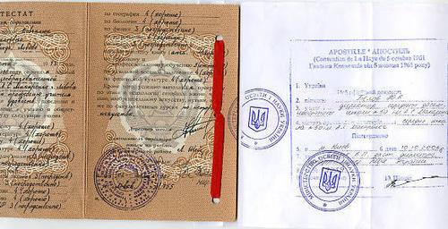 Учеба в Италии признание и подтверждение соответствия диплома об  Аппостиль на документе о среднем образовании Фото tsrmfoggia org