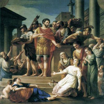 Марк Аврелий раздает хлеб людям