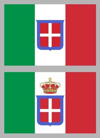 Флаг Сардинии и он же, преобразованный во флаг объединённого Королевства Италии